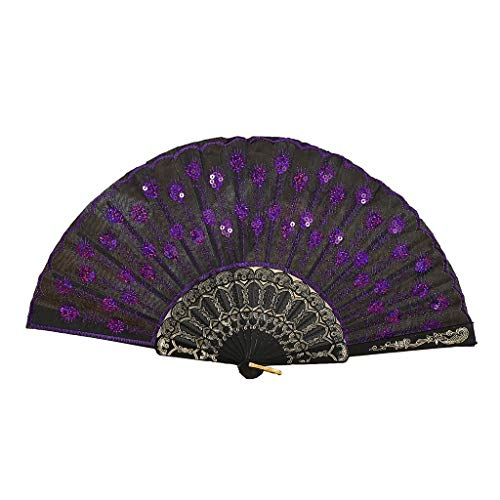 XINTIAN Abanico plegable con diseño de plumas de pavo real, estilo chino, baile, boda, abanico de...