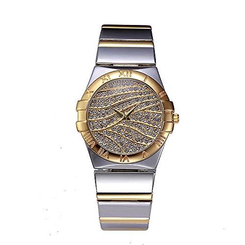 KLFJFD Reloj De Cuarzo Resistente Al Agua con Diamantes De Imitación De Temperamento A La Moda para Mujer, Reloj De Regalo De Moda con Banda De Aleación con Personalidad Creativa