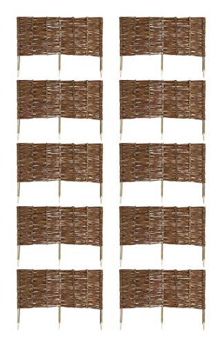 MC.Sammler 10 x Beeteinfassung aus Weide 16 Größen Weidenzaun Rasenkante Beetbegrenzung Steckzaun imprägniert mit Buchepflöcken für leichtes Einsetzen Länge: 100 cm Höhe: 40 cm