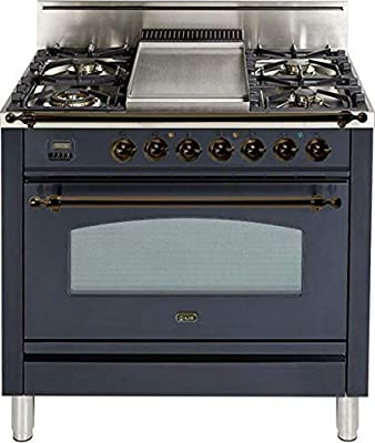 Ilve UPN90FDVGGMY Nostalgie Series 36 Inch Gas Convection Freestanding Range, 4 Sealed Burners, 3.5 cu.ft. Total Oven Capacity in Matte Graphite, Bronze Trim (Natural Gas)
