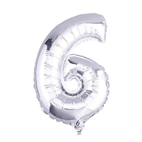 C-Princessアルミ風船 バルーン 巨大数字 ビッグ ナンバー 0-9組合自由 飾り 誕生日ハロウィン クリスマス イベント パーティー 結婚式応援 シルバー (6)