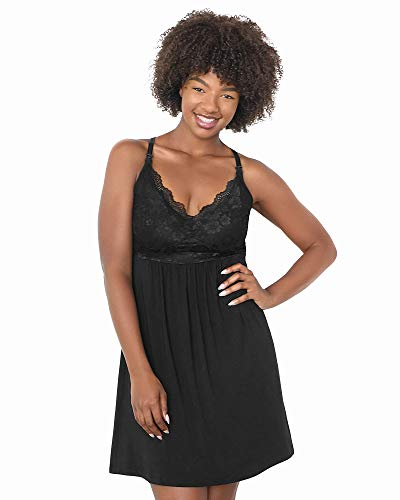 Kindred Bravely Lucille Nursing Nightgown & Maternity Gown (Midnight, Large)