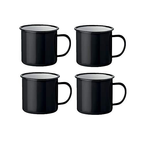 noTrash2003 Kaffeetasse Becher Mug Coffee Trinkbecher Emaille-Becher Vintage Look je 350 ml versch. Farben und Mengen (Schwarz, 4er Set)
