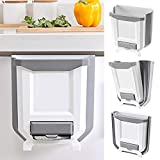 Hanging Kitchen Trash Can with Garbage Bag Storage, Foldable Large Simple Human Trash can, Collapsible Garbage Bin for Bedroom Bathroom Office Dorm Room Drawer Car (A-White)