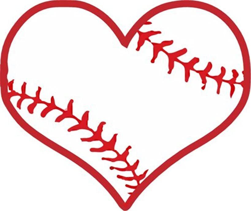 WickedGoodz Die Cut Baseball Heart Vinyl Decal - Sports Bumper Sticker - Perfect Baseball Parent Team or Coach Gift