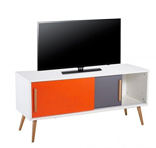 ACTUAL DIFFUSION Meuble TV Blanc Vintage Orange et Gris, Chêne, 40x120x55 cm
