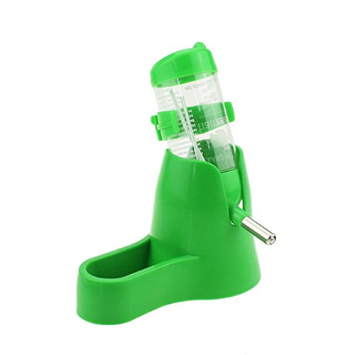 Smdoxi  Pet Automatic Water Bottle Drinking Bottle with Food Container Base Hut for Hamsters Small Animals Hanging Water Feeding Bottles Auto Dispenser (Green)