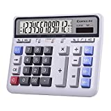 Comix Desktop Calculator Solar Battery Dual Power with 12-Digit Large LCD Display and Large Computer Keys Office Calculator for Home Office School