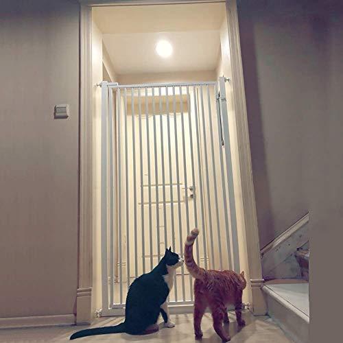H.yina Cancelli per Scale Cancelli per Cani in Metallo Bianco con Porta Walk-Thru, Protezione da Parete per Bambini per Porta, Altezza 80-130 cm Opzionale (Dimensioni: Altezza 100 cm)