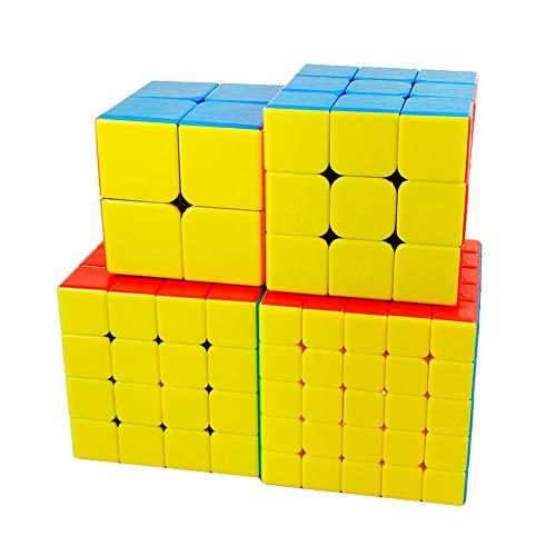 JMFHCD Speed Cube Set, 2x2 Cubo Mágico + 3x3x3 Cube + 4x4x4 Cube + 5x5x5 Cubo Rompecabezas Juguetes Educativos Regalos para Niños Los Adultos