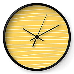 Society6 Sunshine Brush Lines by Color Obsession on Wall Clock - Black - Black