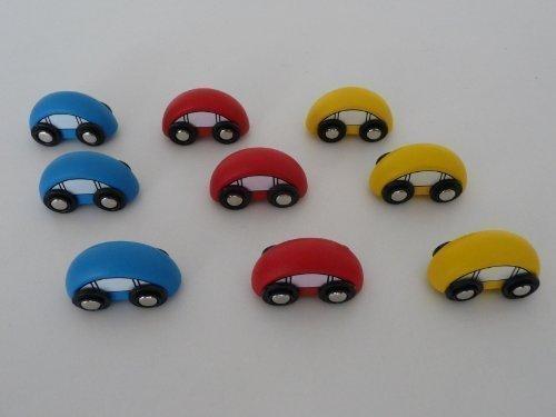 point-kids Ferrocarril de madera para juguete, accesorios para coche, 9 piezas