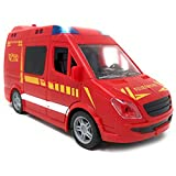 Spielzeug Feuerwehrauto mit Licht und Sound - Feuerwehr mit Sirene und Blaulicht | FFW Auto mit Friktionsantrieb und Vier Geräuschen | Feuerwehrwagen Spielzeugauto für Kinder (Feuerwehr)