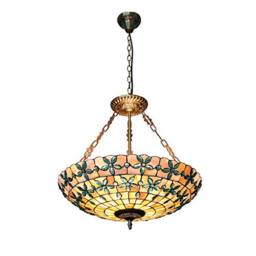 Iluminación Tiffany, Tiffany Europeo lila flor Shell lámpara salón dormitorio bar decoración 20 pulgadas