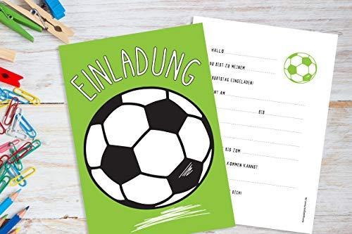 Deingastgeschenk 8 Stück Einladungen Kindergeburtstag Fussball - Einladungskarte für Junge