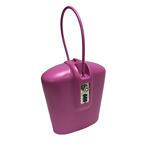 SAFEGO Portable Indoor/Outdoor Lock Box Safe with Key and Combination Access (Pink)