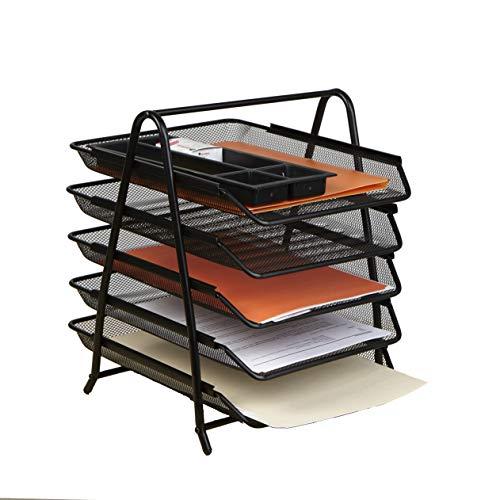 Mind Reader Organizador de mesa com 5 bandejas deslizantes para cartas, documentos, correio, arquivos, papel, preto