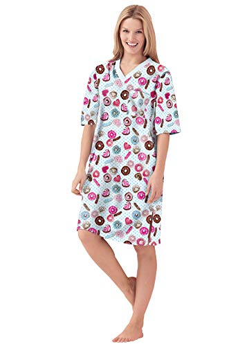 Dreams & Co. Women's Plus Size Print Sleepshirt Nightgown - 3X/4X, Ivory Donuts Blue