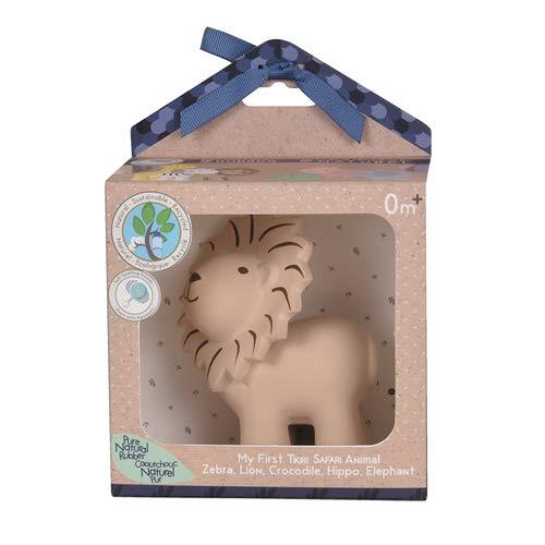 Tikiri 8596012 Naturkautschuk Rassel in Geschenkbox, Löwe, Badespielzeug, für Babys und Kinder ab 0+ Monaten