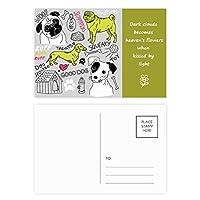 漫画の犬おもちゃのイラストテキストパターン 詩のポストカードセットサンクスカード郵送側20個