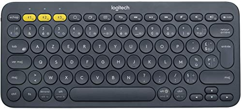 Logitech K380 Clavier sans Fil Multi-Dispositifs pour Windows, Apple iOS, Android or Chrome, Bluetooth, Design Compact, PC/Mac/Portable/Smartphone/Tablet/Apple TV, Clavier AZERTY Français - Noir