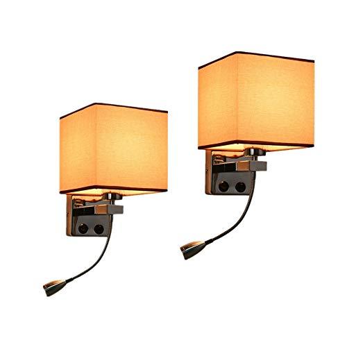 Nachttisch Wandlampe x2 moderne LED Leselampe Schlafzimmer Schlauch Kipphebel Leselampe Quadrat Beige Stoff Lampenschirm Design mit Knopf Schalter Wohnzimmer Balkon Gang E27 Lampe / 17 * 17 * 27cm