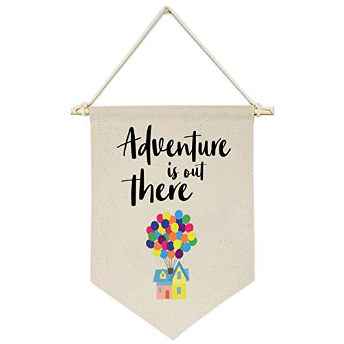 Topthink Adventure is Out There -Canvas Hanging Flag Banner Wall Sign Decor Gift for Baby Kids Girl Boy Nursery Teen Room Front Door - Hydrogen Balloon, Travel Around The World