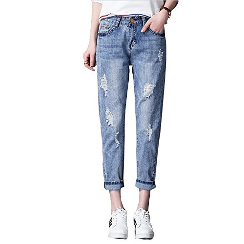 Olici MDRW-College Studenten All-Match Ripped Jeans Losse Slim Broek Nieuwe Wind Lente Tide
