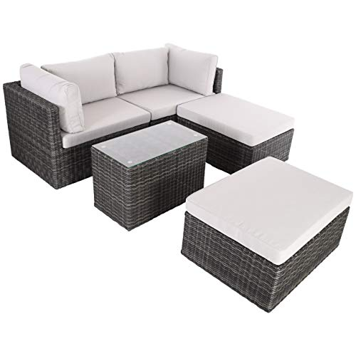 Raburg XL Gartenlounge ADAN in Schiefer-GRAU-MELIERT - 5-TLG. Premium Alu & Poly-Rattan mit Polster-Set in Stein-HELL-GRAU, Tisch mit Glasplatte, Sitzgruppe + Sofa für 2-4 Personen