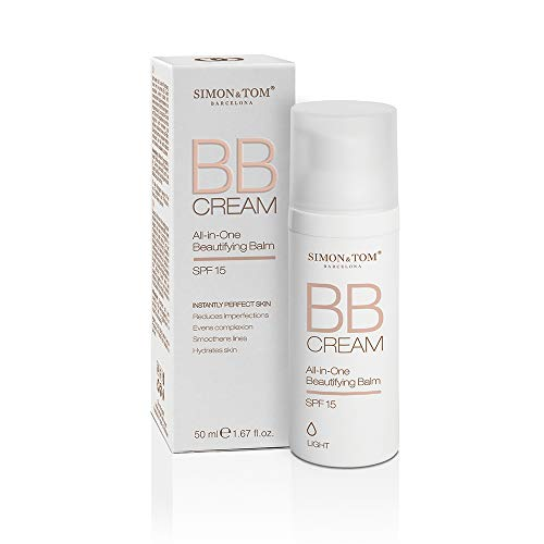 SIMON & TOM BB CREAM - ALL in ONE - Make-Up-Grundlage - Hyaluronsäure & Vitamin E - Korrigiert und glättet die Haut - Reduziert Unebenheiten - SPF15 - Farbton LIGHT - Leichte Abdeckung/ 50 ml.