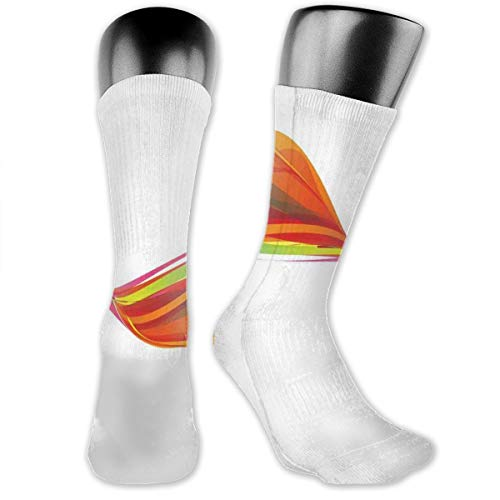 Preisvergleich Produktbild vnsukdlfg Compression Medium Calf Socks, Rainbow Curved Wave Smoke Like Image With Pixel Style Detailed Work Of Art Print