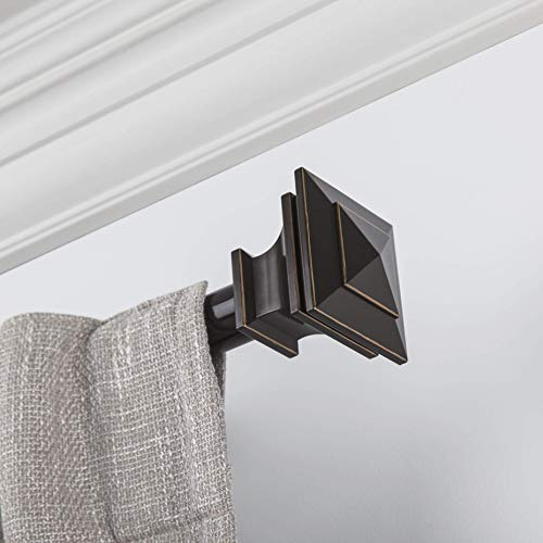 """Curtain Rod, Quick Easy Installation, 72""""-144"""" Adjustable Length, No Tools Option, 1"""" Diameter, Durable Steel Construction, Supports Heavy Fabrics, Decorative Square Finial, 4 Brackets Included,"""