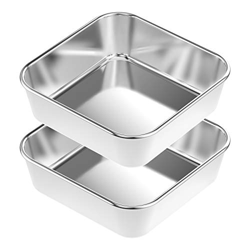 Square Baking Pan Set 2, HKJ Chef Square Cake Pans, Stainless Steel Deep Bakeware for Lasagna Bread Brownie, 8.5x8.5x2.2 Inch, Leak proof & Heavy Duty, Easy Release & Dishwasher Safe