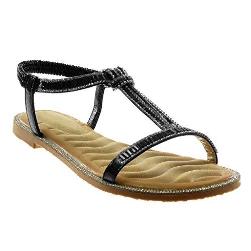 Angkorly - Damskie buty - Slip-On - Slip-On - T-Spange - Paski na kostki - Strass - Fantasy - błyszczący obcas blokowy 1 cm, czarny - czarny - 39 eu