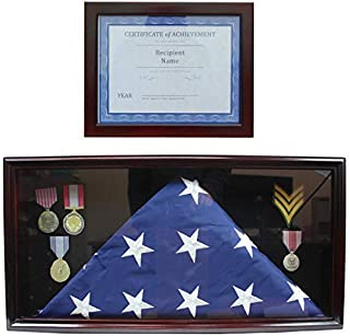 American Memorial Burial Flag Display Case Military Medal Shadow Box Cabinet, with Certificate Frame, 2 Pcs Set