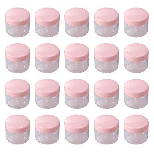 Mini-Kosmetikbehälter, rund, tragbar, für Reisen, Proben, leer, rosa, 20 Stück