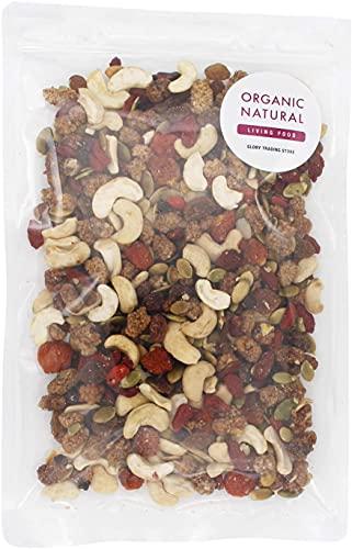 贅沢6種の有機トレイルミックス ドライフルーツ 無添加 無着色 スプラウテッドナッツ (ワイルドベリー200g)