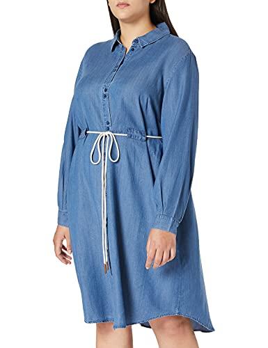 TOM TAILOR MY TRUE ME 1024848 Plussize Tencel Vestido, 10110 Blue Denim-Juego de Mesa, 52 ES para Mujer