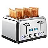 Stainless Steel 4-Slice Toaster with LCD Display