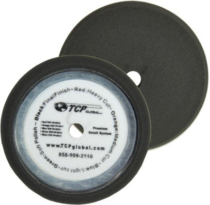 TCP Global 8' Black Extra Fine Foam Finishing Grip Pad Final Buff Polish Wax - Hook & Loop