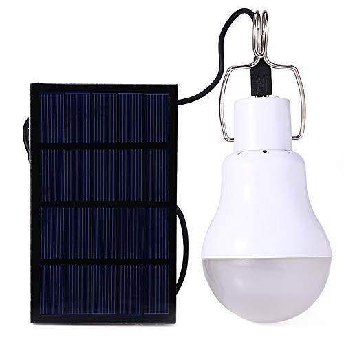 Dsti Bombilla de LED Solar Portátil Lámpara Foco Panel Solar Al Aire Libre Senderismo Cámping(1 Pack)