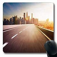 マウスパッドトランスポートハイウェイ陸橋モーション自動車ぼかしシティスカイライングロー楕円形7.9 X 9.5インチ長方形ゲームマウスパッド滑り止めラバーマット