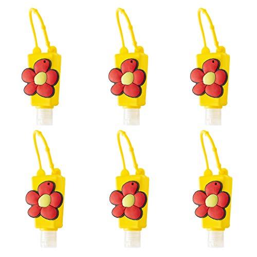 Tangpingsi 6Pcs 30ml Kinder Händedesinfektionsmittel Nachfüllbare Leere Flasche mit Cartoon Blumen Regenbogen Silikonhalter Schlüsselbundträger Tragbarer Flüssiglotionsbehälter