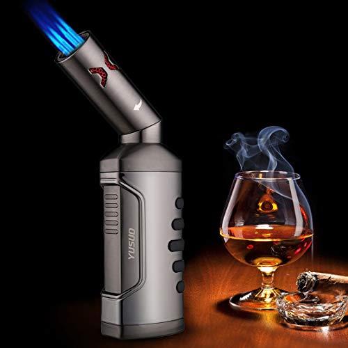 yusud Jet Torch Cigar Lighter, Quad Jet Flame Adjustable Butane Refillable Cigarette Lighter (4 Jet Torch)