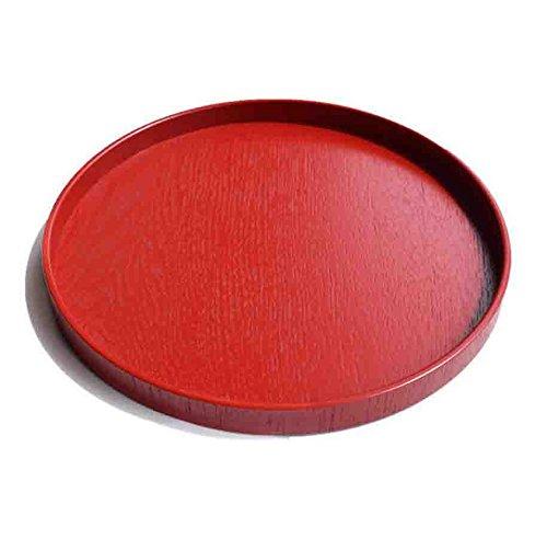 Super UD, bandeja de madera, decorativa, redonda, Otomana, para servir, bandeja para alimentos café o té, madera, Rojo, 37.5cmx2.5cm