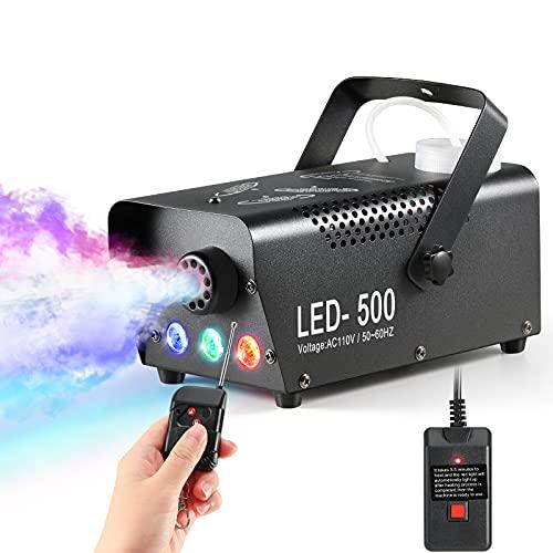 Nebelmaschine, 500W Halloween Nebelmaschine mit 3 LED Lichtern und Fernbedienung, Geeignet für Halloween, Weihnachten, Hochzeit und Bühneneffekt