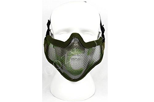 COZYJIA Airsoft Masken, Taktische Stahl Mesh Masken Einstellbare Gurtband Halbe Gesichtsmaske Schutz Getriebe Schützen Nase und Mund für Airsoft Paintball Cosplay (Woodland Camo)