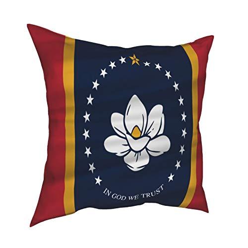 Pillowcase Fundas de almohada 45x45CM La nueva bandera del estado de Mississippi de EE. UU. Decoración de Mississippi para decoración del hogar, sofá de oficina, barra de vacaciones, café, boda, coche