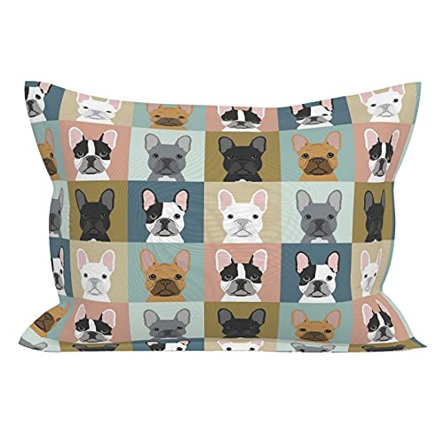 French Bulldog Pattern Wrinkle Resistant Ultra Soft Standard Pillowcases with Envelope Closure