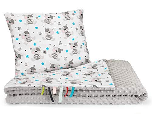 Decke Kindergartenkind 2seiting XXL MINKY 100 x 135 cm Babydecke Kuscheldecke (Grau mit Teddybär)